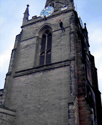 Charity Abseiling can be arranged in a wide variety of locations.